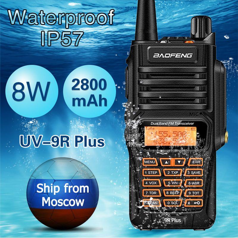 Baofeng UV-9R Plus Étanche 8 w Puissant Talkie Walkie Radio Bidirectionnelle Double Bande De Poche 10 km gamme UV9R Jambon CB Radio De Poche