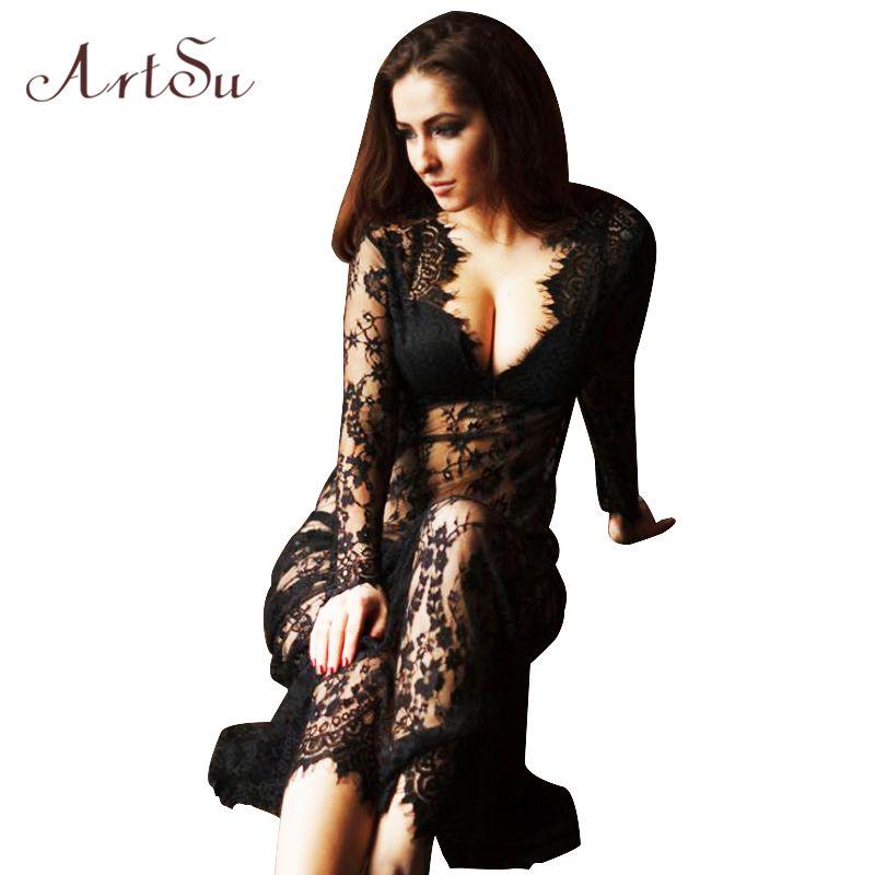 ArtSu Mujeres Palabra de Longitud Vestido de Encaje Negro Blanco de Verano Ajustar La Cintura Sexy Opacidad Ahueca Hacia Fuera El Vestido Maxi Plus tamaño DR5046