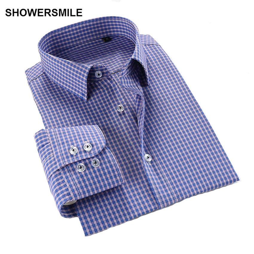 Showersmile плед плюс Размеры человек Рубашки для мальчиков хлопок Slim Fit Для мужчин повседневные рубашки с длинными рукавами Демисезонный плед Д...