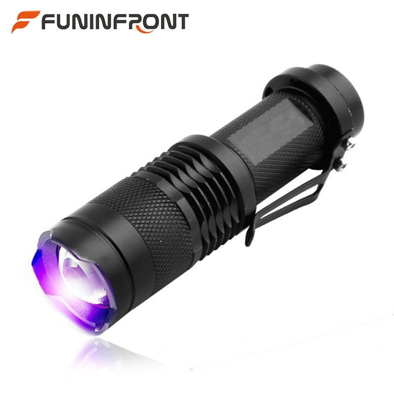 5w 365nm UV LED Flashlight Ultraviolet Lampe , 395nm Blacklight MINI Zoomable LED Flashlight UV Currency Detector Torch Clip