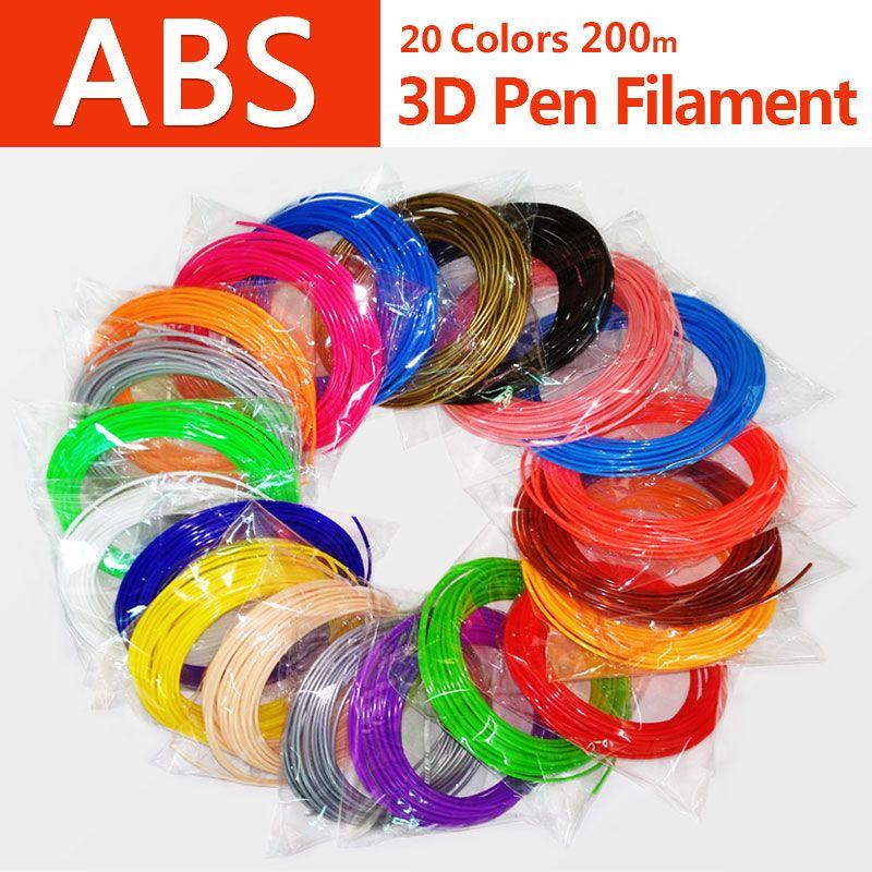 Producto de calidad abs 1.75mm 20 colores pluma 3d filamento pla filamento abs filamento 3d pluma impresión 3d filamento de plástico abs plástico