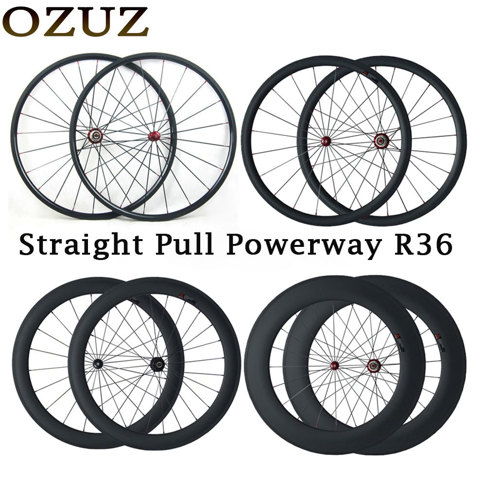 Custom Duty Free OZUZ 700C Carbon Wheel 24mm 38mm 50mm 88mm Clincher Tubular Straight Pull Road Carbon Wheelset Powerway R36 Hub