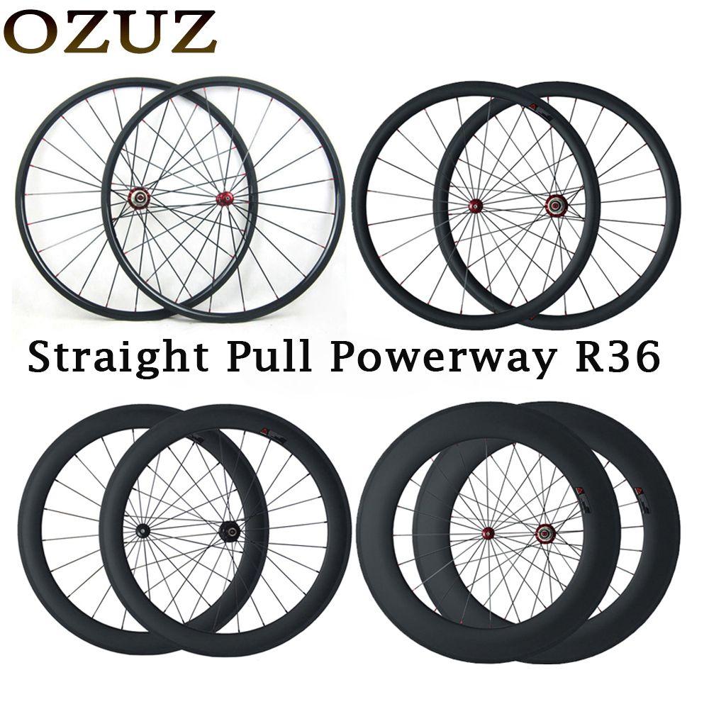 Custom Duty Free OZUZ 700C Carbon Wheel 24mm 38mm 50mm 88mm Clincher Tubular Straight Pull Road Carbon Wheelset Powerway R36 Hub