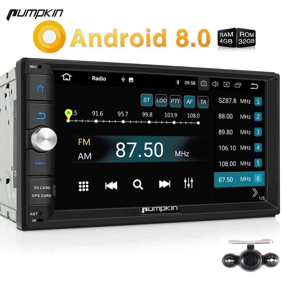 Pumpkin 2 Din Android 8.0 Universal Car Radio No DVD Player GPS Navigation Bluetooth 4GB RAM Car Stereo Qcta-core 4G Headunit