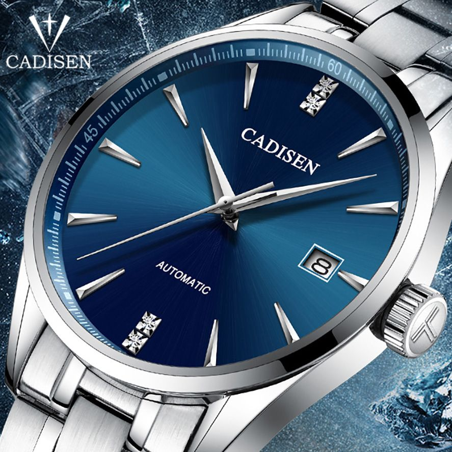 CADISEN Luxury Brand Men's business watch steel men watch automatic mechanical male wirstwatch waterproof thin relogio masculino