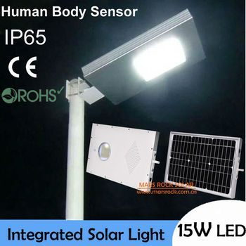 15W LED Solar Road Light, Solar Induction lamp, 30w Solar Panel with 12AH Battery All In One, Outdoor LED Solar Light Waterproof
