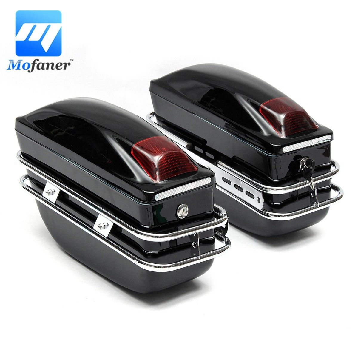 Mofaner 2 Pieces Motorcycle Saddle Bags Retro Large Capacity Motorbike Tail Rear Bags For Harley-Davidson