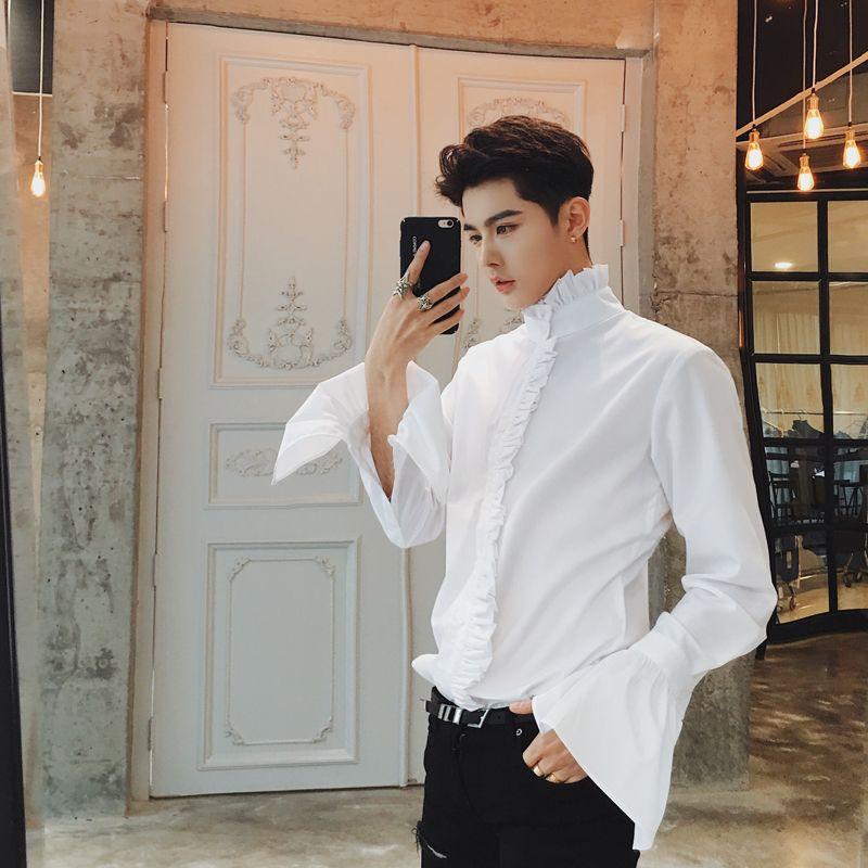 2017 Gothic Shirts Mens White Flare Sleeves Shirts Mens Stand Collar Luxury Dress Royal Shirts Mens Night Club Outfits Tuxedo