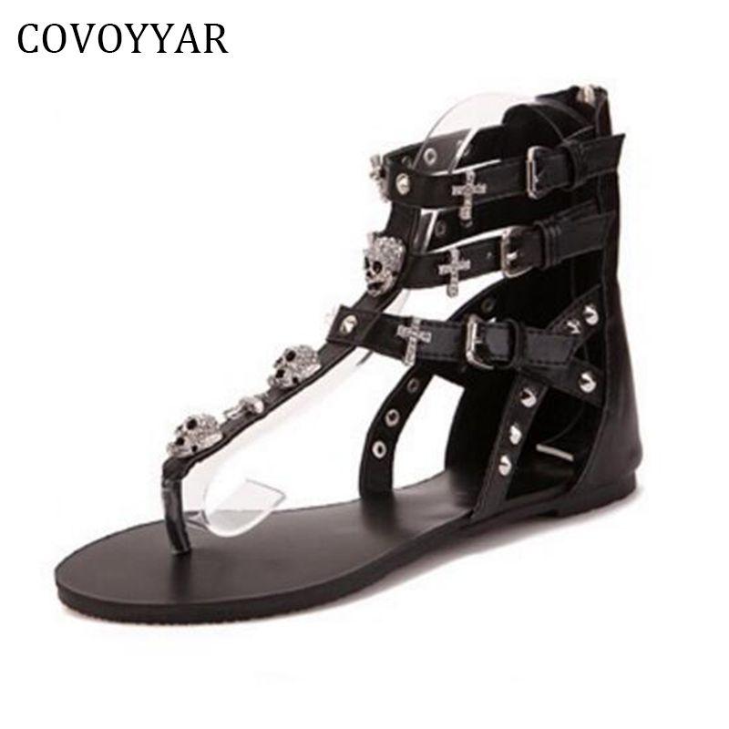 COVOYYAR 2018 Rivets Gladiator Women Sandals Skull Flip Flops Beach Summer Flat Black Women Lady Shoes Plus Size 40 WSS738