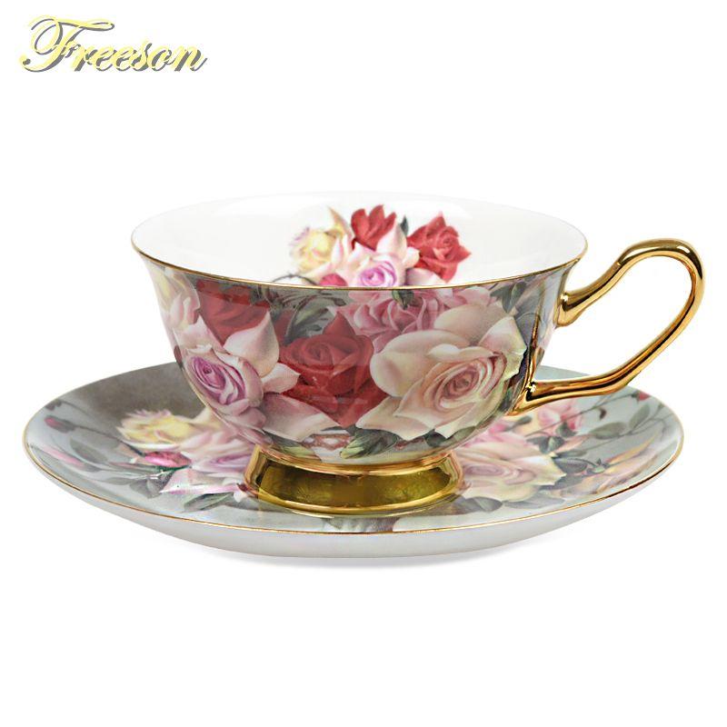 Britannique Vintage Rose Bone chine thé tasse soucoupe cuillère ensemble 200ml avancé porcelaine tasse à café Europe café après-midi tasse