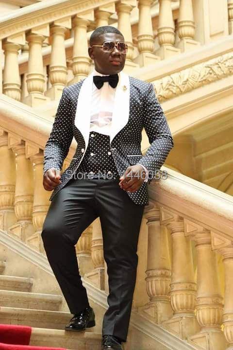 2017 Costume Homme Fashion Black White Lapel Men Dots Wedding Suit Tuxedo Groom Wedding Party Suits For Men Bridegroom Groomsmen