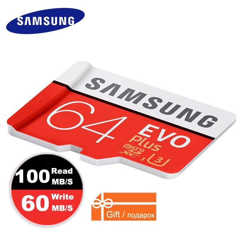 SAMSUNG Micro SD Carte Mémoire 64 gb 32 GB 128 GB Plus Class10 Étanche TF Memoria Sim Carte Trans Mikro Carte 128 GB Pour téléphones intelligents