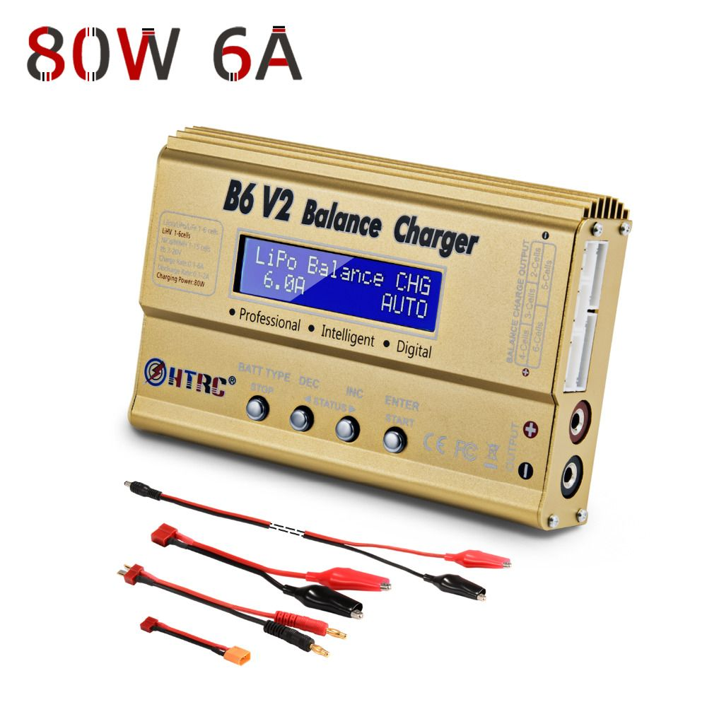 LiPo Battery Charger Balance <font><b>Discharger</b></font> HTRC B6V2 80W 6A 1-6S DC11-18V for Li-ion LiFe NiCd NiMH LiHV PB Smart Battery