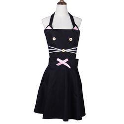 Lucu Retro Disesuaikan Wanita Dapur Fashion Wanita Celemek dengan Kantong Hitam Kucing Delantal Ladieswear Gaun Pesta Bi'b