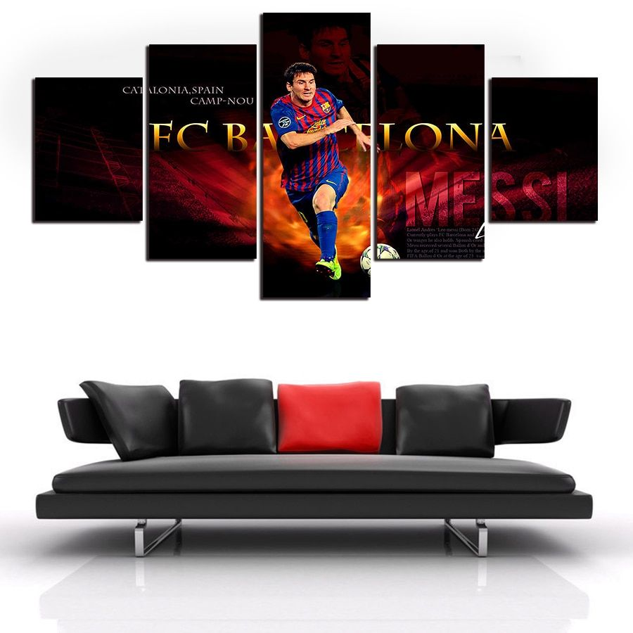 Modern five panels  Canvas Print Painting famous football player for home Decor  Art HD Canvas Picture free shipping