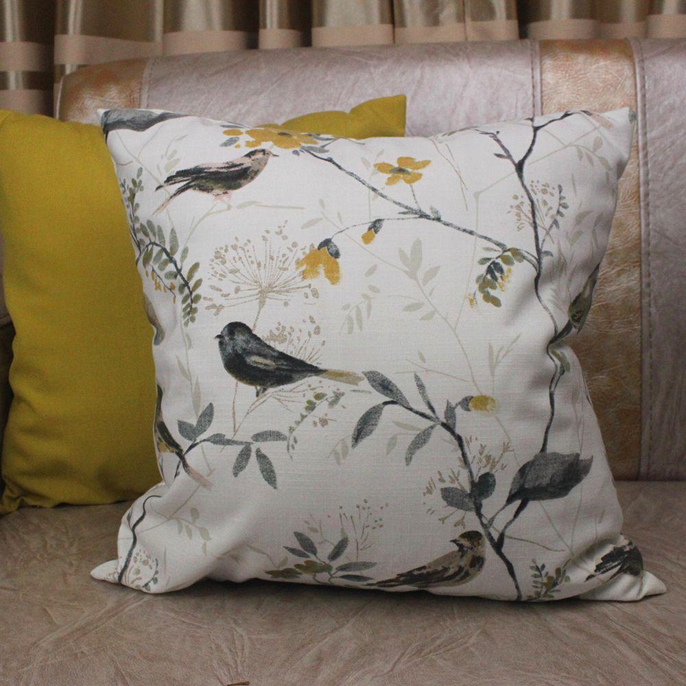 CURCYA oiseaux housse de coussin printemps été automne jaune maison décoratif taie d'oreiller couvre Polyester coton mélangé