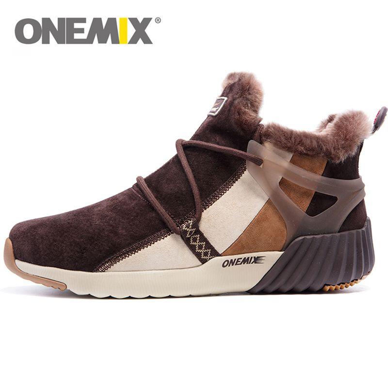 ONEMIX Waterproof Snow Boots Women Sneaker Men Trainers Walking Outdoor Athletic Comfortable Warm Wool <font><b>Shoes</b></font>