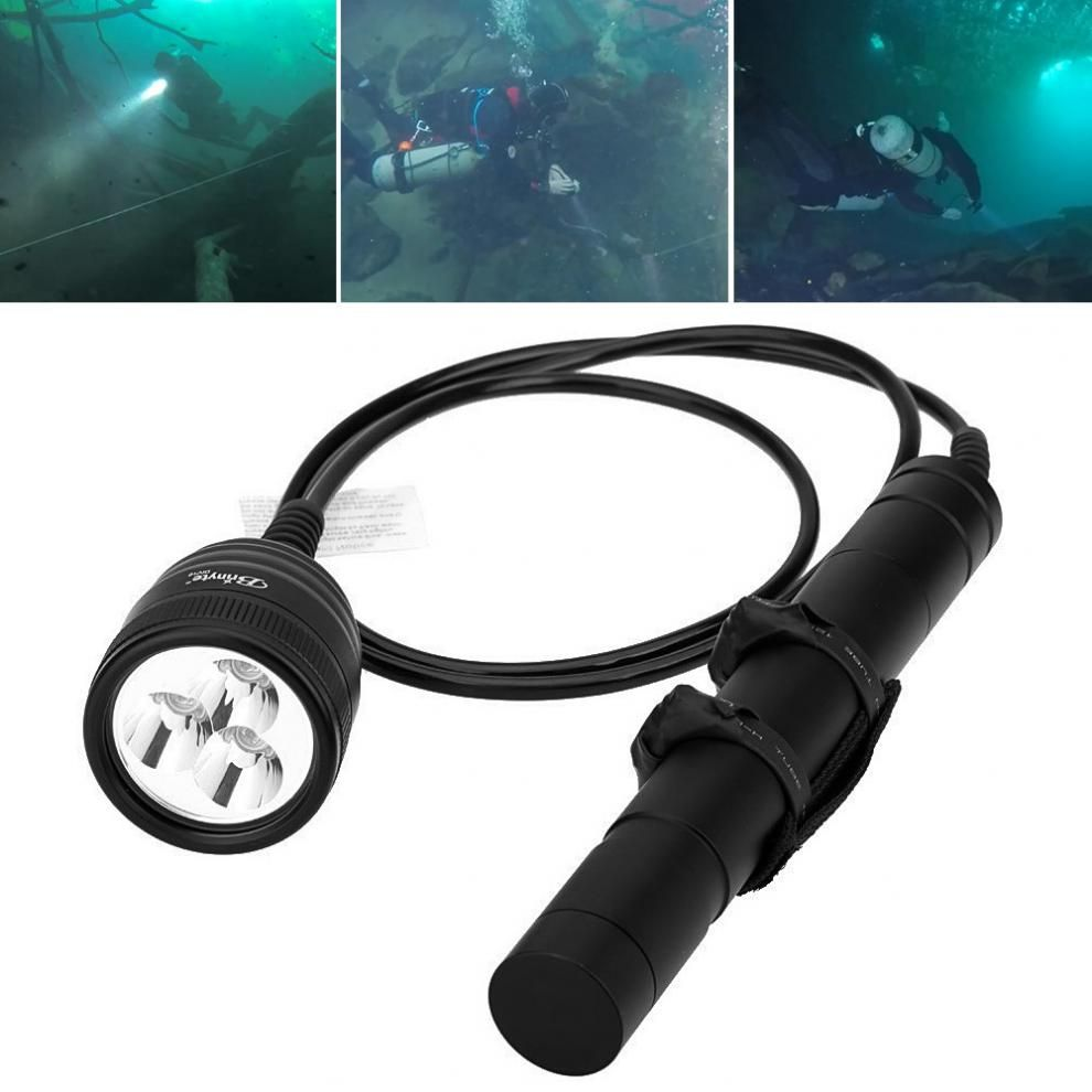 Brinyte DIV10 Underwater LED Diving Flashlight High Power 150m 3000lm 3x XM-L2 LED with 2M Wire Length for Professional Diving