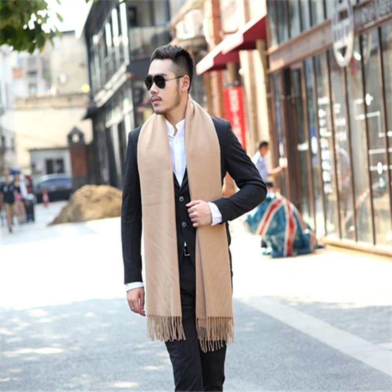 Wool Male Tassels Scarf Winter Warm Cashmere Scarves Men Printing Shawl Wraps Luxury Brand  Best Quality Pure Color Warm Scarf
