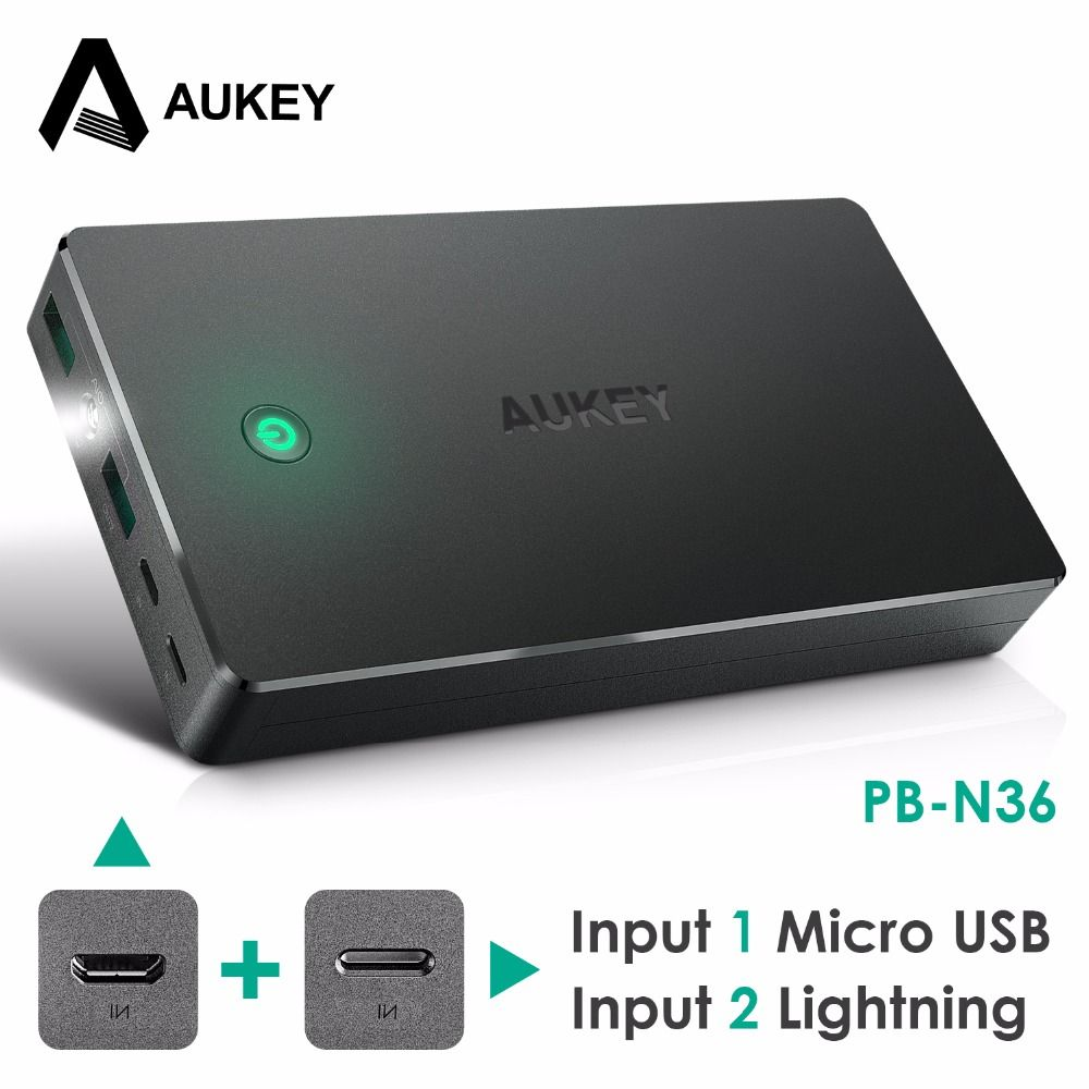 AUKEY Power Bank Dual USB 20000mAh External Battery Pack with LED Light Mobile Charger Powerbank for Xiaomi iPhone 8 X Poverbank