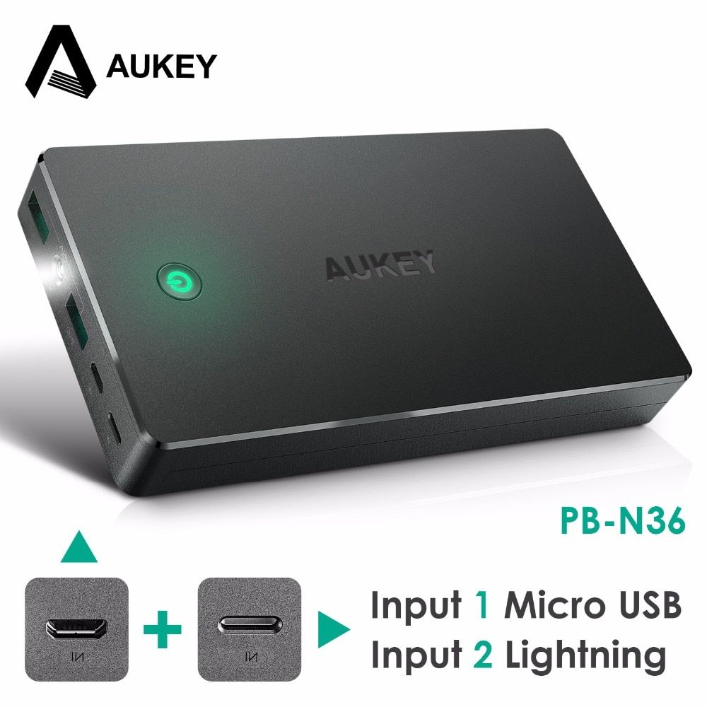AUKEY Power Bank Dual USB 20000mah Portable External Battery Pack with LED Light Mobile Phone Powerbank for Xiaomi iPhone Huawei