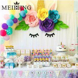 MEIDDING-unicornio decoración del cumpleaños partido del unicornio 20 cm Artificial Rose flores Banner Cake Topper Fiesta de la torta Decoración