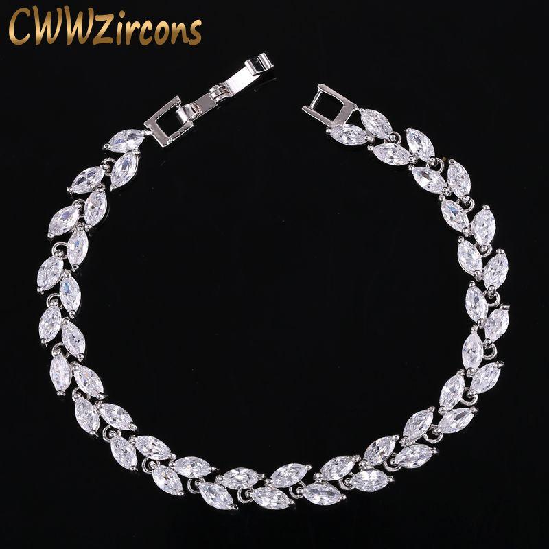 CWWZircons New Trendy 2018 Cubique Zircone Bijoux Argent Couleur Feuille Charme CZ Cristal Femelle Bracelets Bracelets Pour Femmes CB060