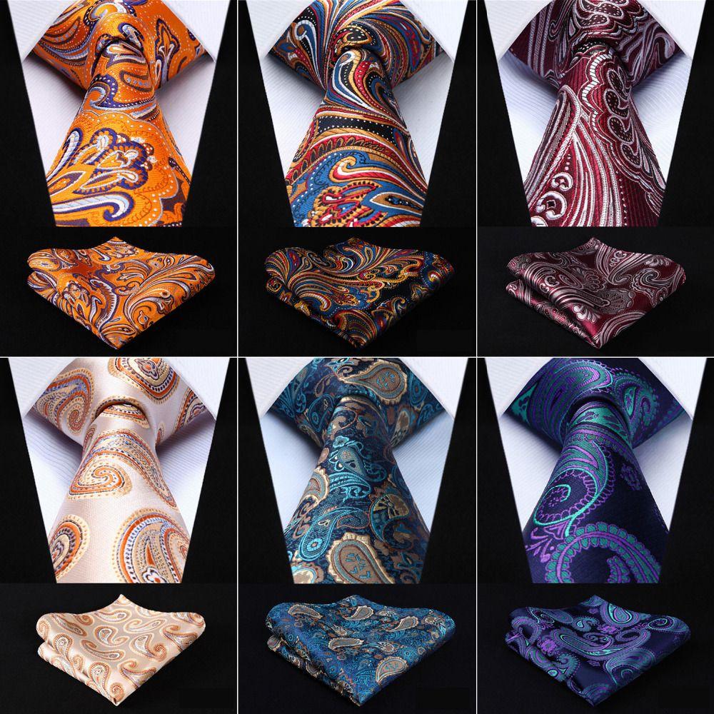 Hommes 3.4 Cravate En Soie De Mode Paisley Floral Partie De Mariage Classique Poche Carré D'affaires Cravate Tissé Hommes Cravate Mouchoir Ensemble
