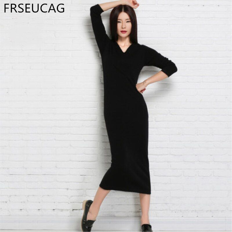 FRSEUCAG New pullover solid color knitted cashmere dress long section Slim package hip V collar full sleeve Goddess style