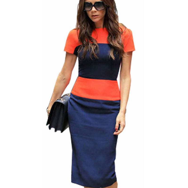 Fashion <font><b>Stripe</b></font> Women Dress Celeb Style Casual Career Business Sheath Patchwork Pencil Back Zipper Wiggle Party Dresses E463