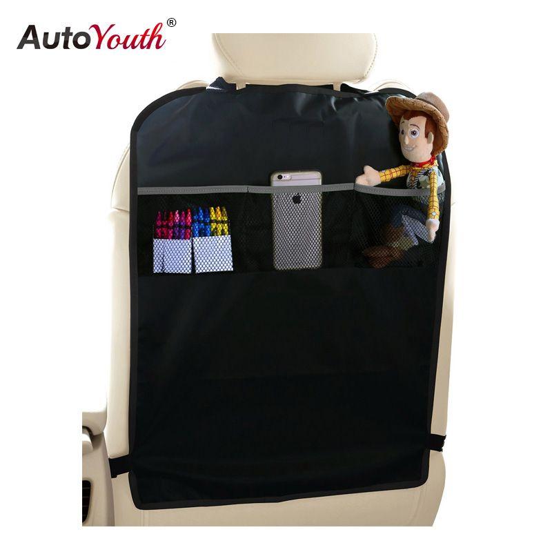 AUTOYOUTH Kick Mats Back Seat Protectors Storage Organizer Pocket 2PC Universal Kids Car Auto Seat Back Protector Cover Black