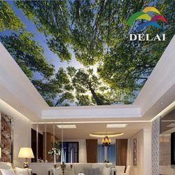 T-0126 bunkle árboles con hojas de impresión techo cielo azul con árbol de plástico material de construcción
