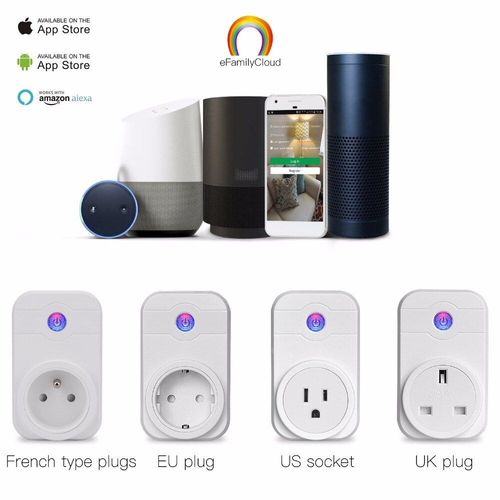 Home Automation Phone Remote Control Timer Control Voice Control Wifi Smart Plug socket Working with <font><b>Google</b></font> home Amazon Alexa