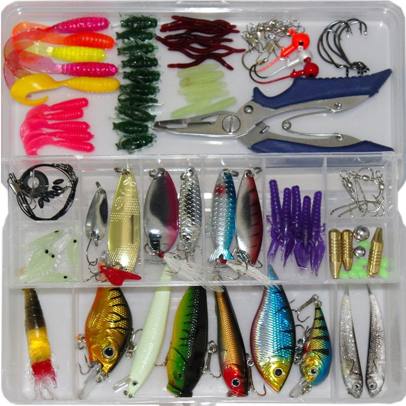 2017 New 73/100/132pcs Fishing Lure Kit Mixed Minnow/Popper Spinner Spoon Lures With Hook Isca Artificial Bait Fish Set Pesca