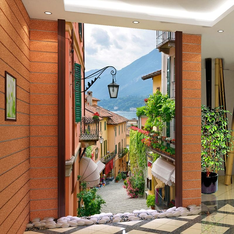 Custom Photo Wallpaper European Town Street View Entrance Background Modern Painting Mural Wall Papers Home Decor Living Room
