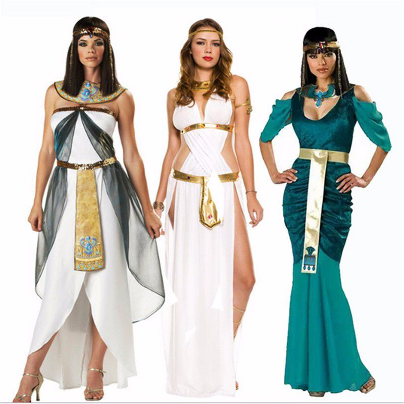 2018 high quality Cleopatra Costumes Sexy Queen clothing Greek Goddess Cosplay Party Dress Athena Costume Halloween for Women