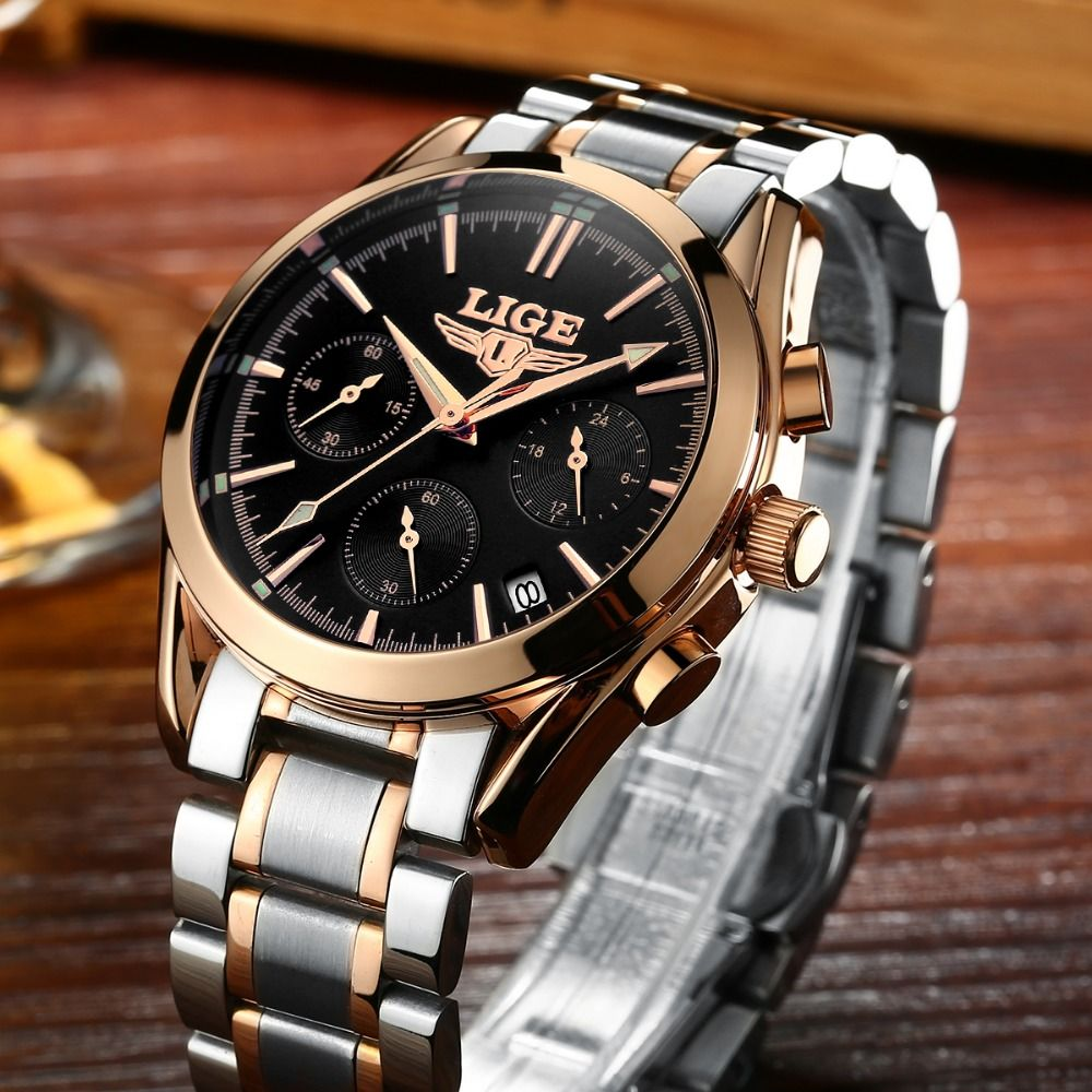 LIGE Top Luxury Brand Men Military Sport Watches Men's Quartz Clock Male Full Steel Casual Business WristWatch Relogio Masculion