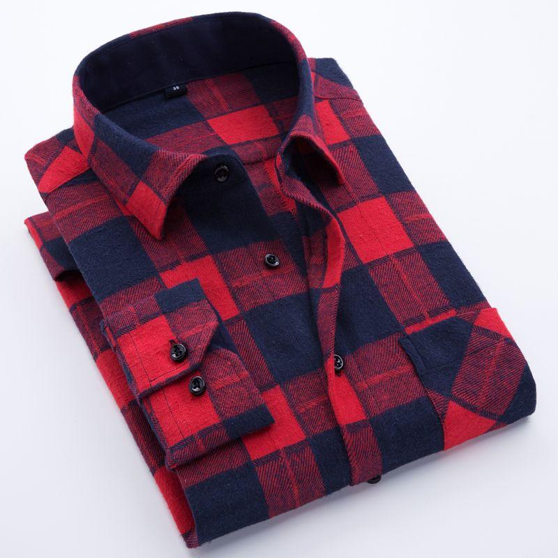 Hommes de Manches Longues Bold Plaid Brossé Flanelle Shirt avec Poche Poitrine Slim-fit Confortable Doux À Carreaux Occasionnel Travail Tops Chemises