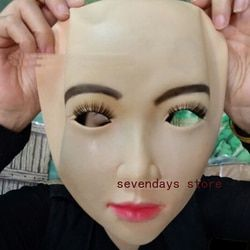 Top Grade Handmade Silicone Sexy Dan Manis Setengah Wajah Perempuan masker Ching Crossdress Topeng Crossdresser Topeng Boneka Lady Masker Kulit mainan