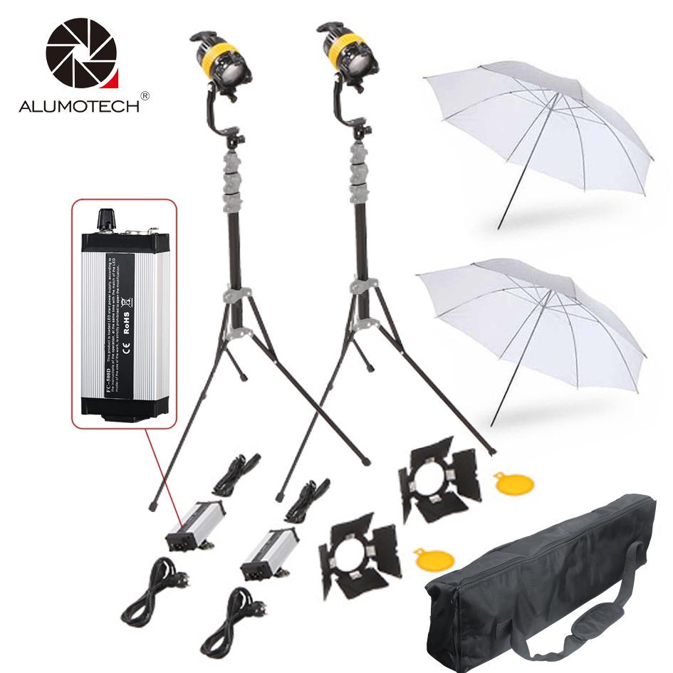 ALUMOTECH Led Light 50WX2+StandsX2+Reflector Umbrella+Bag Kit For Studio Video Photography