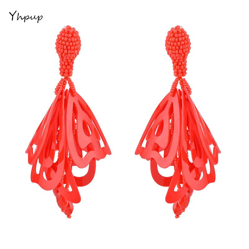 Yhpup Luxury Brand Hollow Large Impatiens Flower Clip Earrings For Charm Women Party Statement Trendy Earrings Jewelry Brincos