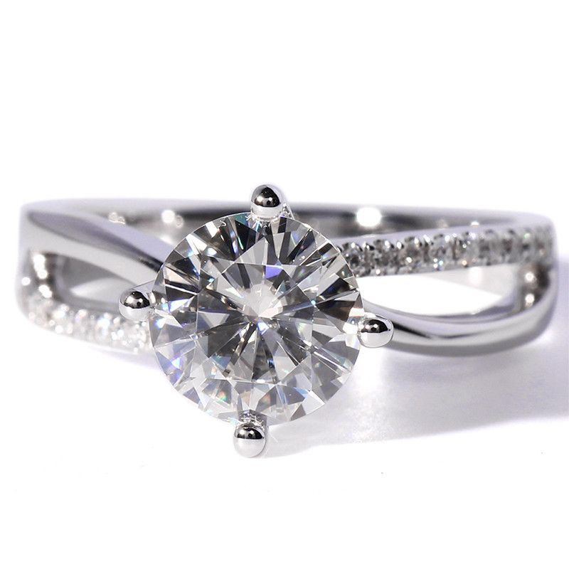 14K 585 White Gold 2 Ct Center 7*7mm F Color Octavia Assher Lab Grown Moissanite Diamond Engagement Wedding Ring With Accents