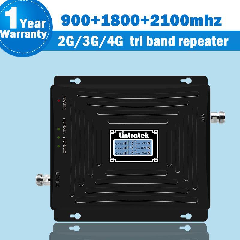 Lintratek 2g 3g 4g Handy Cellular Signal Booster GSM 900 + DCS 3 1800 mhz + 3g WCDMA/UMTS 2100 Band 1 GSM Repetidor 65dB S44