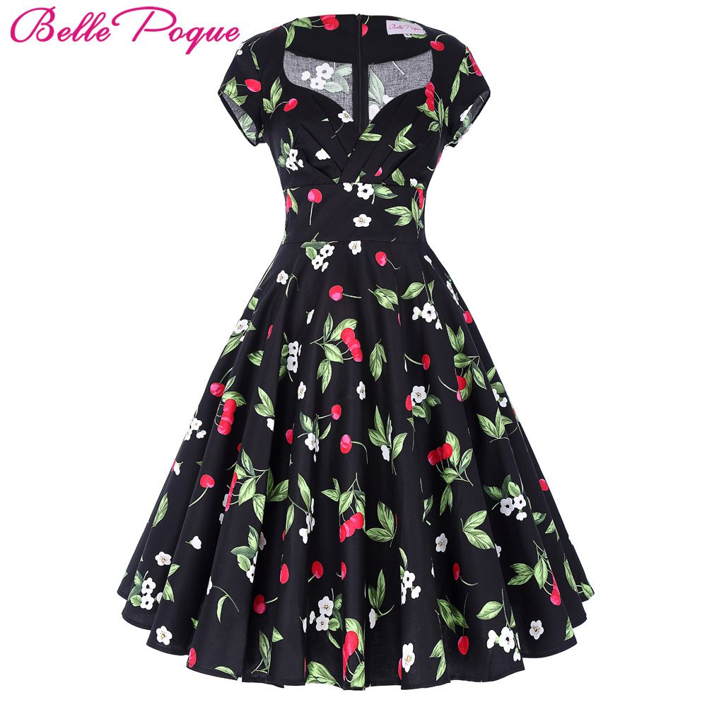 Belle Poque Audrey Hepburn Robe Retro Rockabilly Dress 2018 jurken 60s Swing Floral Pin up Women Summer 50s Vintage Dresses