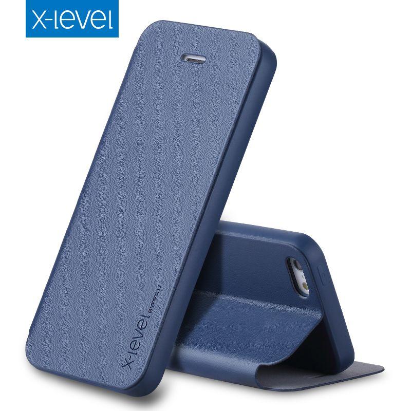 X-Niveau Flip Cas de Téléphone pour Apple iPhone 5 5S SE D'origine PU Housse En Cuir De Luxe Cas de Stand couverture pour iPhone 5 5S SE