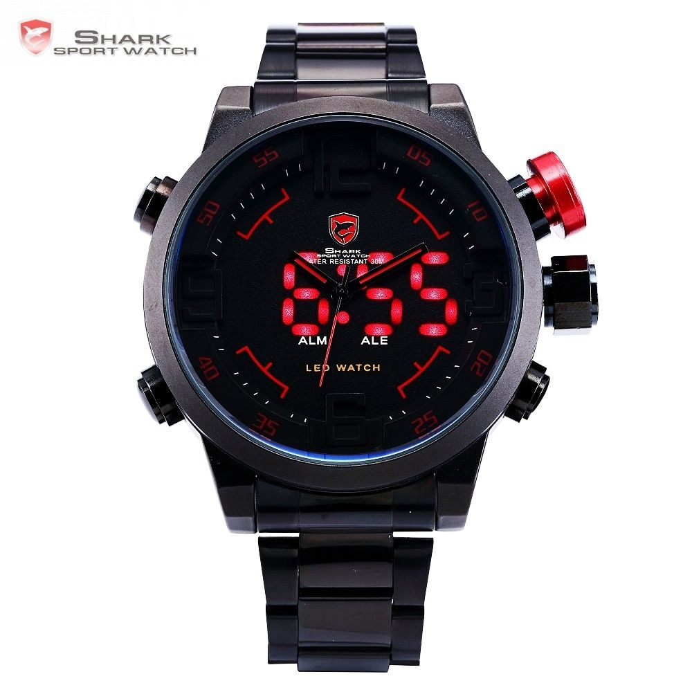 Gulper SHARK Sport Watch Digital LED Men Top Brand Luxury Black Red Calendar <font><b>Steel</b></font> Band Wrist Quartz Watches Reloj Hombre /SH105