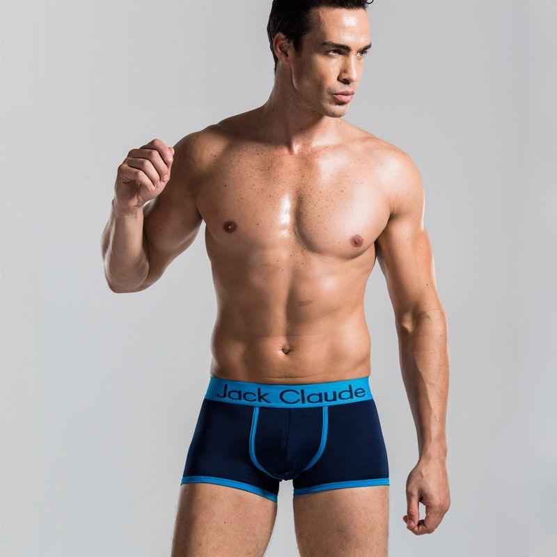 Al por mayor Nuevo 2017 Sexy gay Ropa Interior del Boxeador de Los Hombres Respirables Suaves Cómodos Masculinos Sólidos Bragas Calzoncillos JackClaude Marca