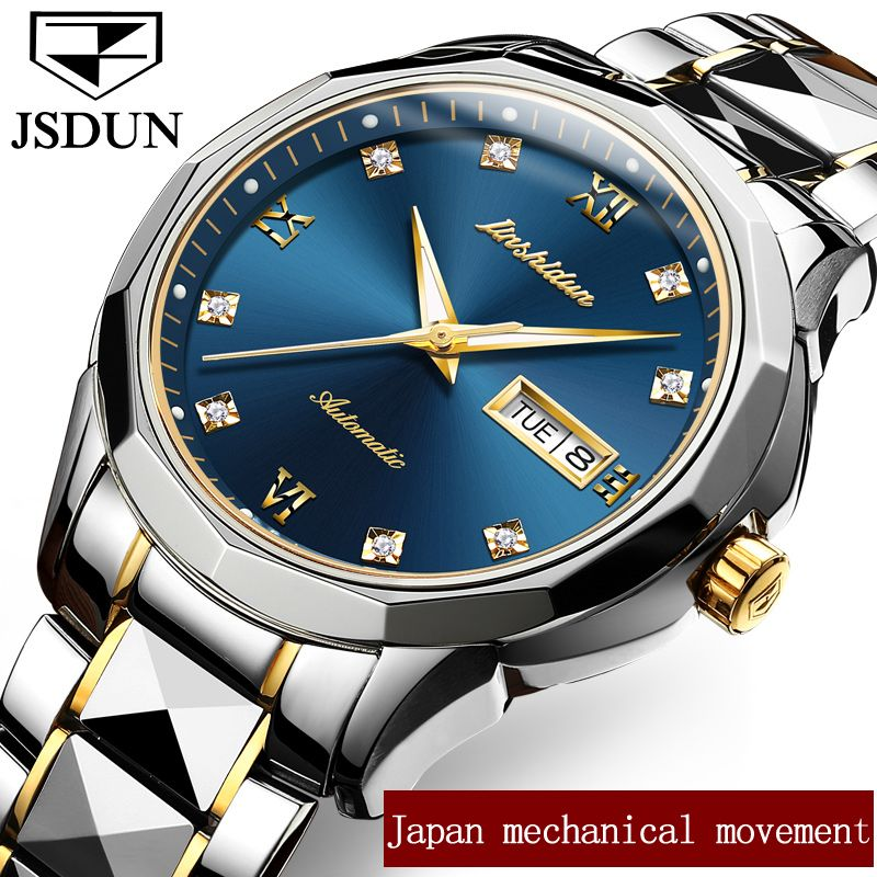 Genuine Mechanical Watches JSDUN Luxury Brand Business Watches Men Water Resistant Stainless Steel Auto Date Automatic Watch New