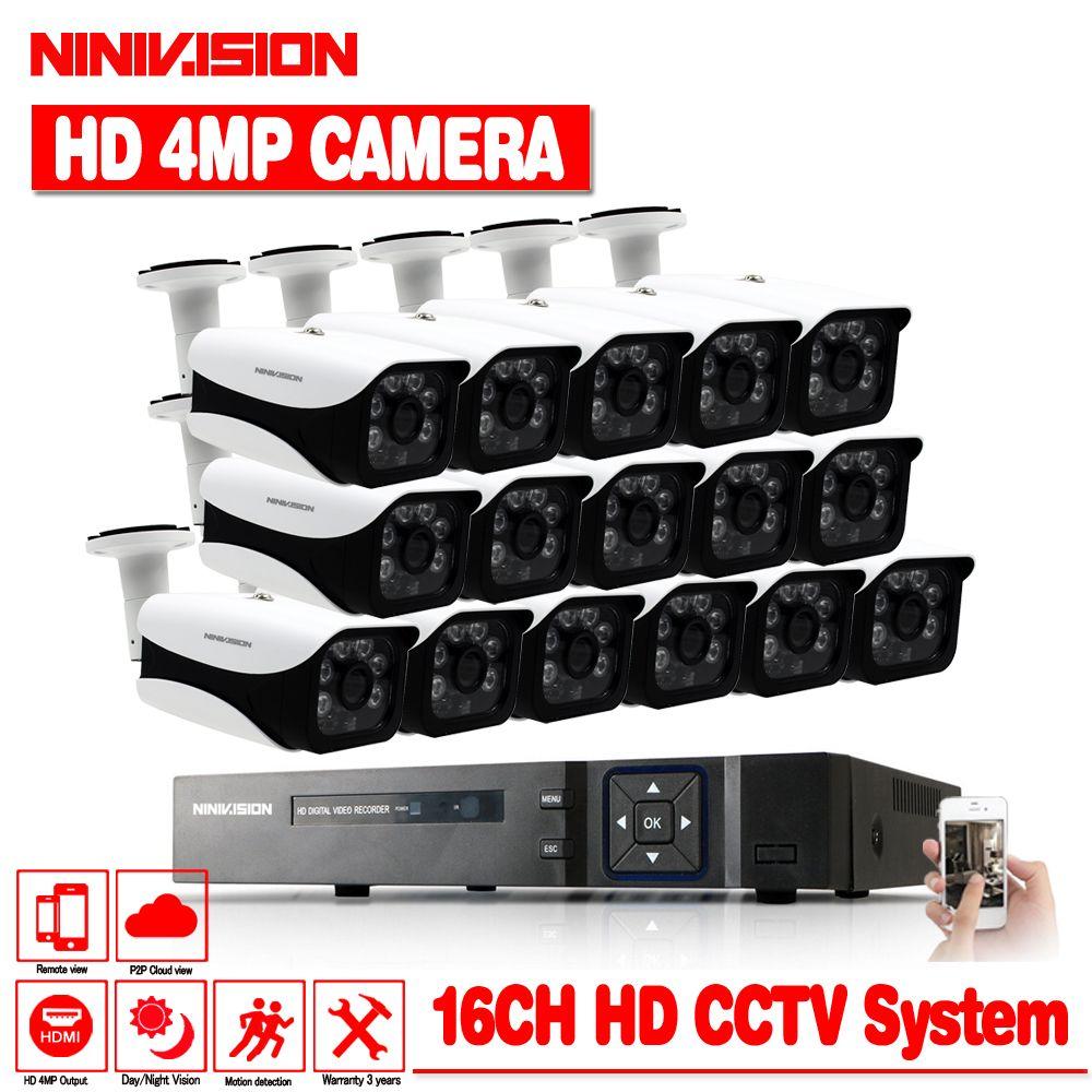 16CH 4MP HD AHD DVR CCTV-System Mit 16 stücke CCTV Kamera 4MP indoor Outdoor Wasserdichte AHD Sicherheit Überwachung Kamera kit