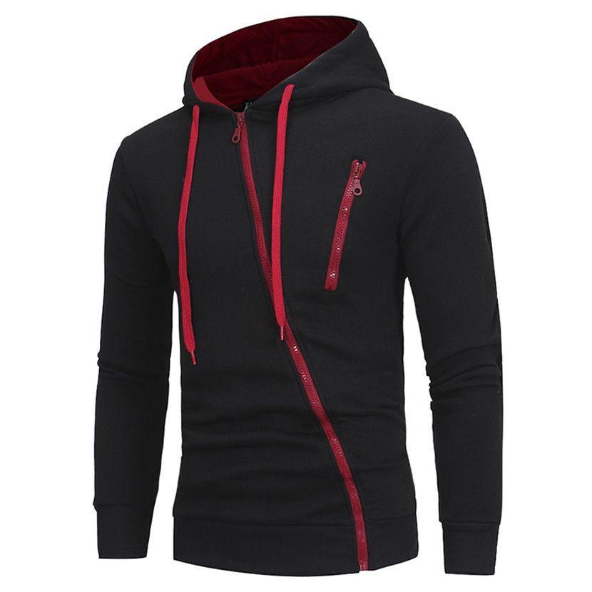 New Brand Hoodies Men 2018 Male Long Sleeve Hoodie <font><b>Features</b></font> Zipper Sweatshirt Mens Moletom Masculino Hoodies Slim Tracksuit